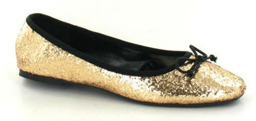Puppe Schuhe mit Schleife Trimmen Damen Spot On Glitzer Slipper Ballerina