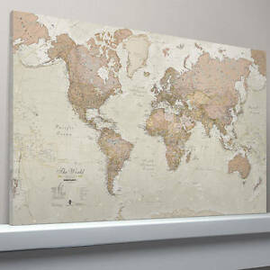 Antique Map Of The World Framed Canvas Print | eBay