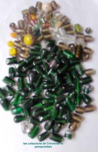 à Condition De Perles En Pate De Verre En Vrac Tailles Variees Tons De Verts*