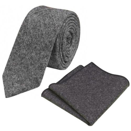 Great Reviews New Charcoal Grey Skinny Tweed Wool Tie /& Pocket Square Set UK.