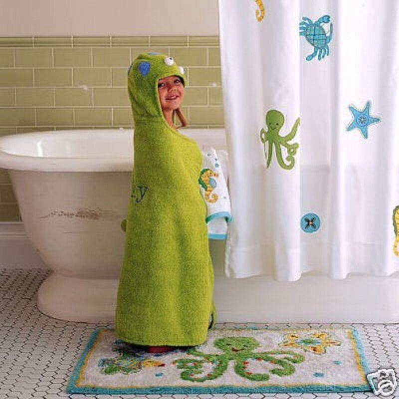 Pottery Barn Kids Ocean Critter Sealife Shower Curtain 72 72 72 X 72  Summer GUC HTF a4b93d