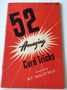Provenance Vintage Magic 52 Amazing Card Steele Tricks Booklet Herb Runge Magic