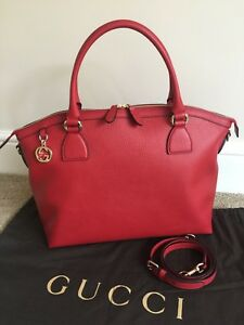 1eea9f2492b564 GUCCI RED LEATHER HAND SHOULDER TOTE BAG & LOGO DUSTBAG MADE IN ...