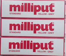 3 X milliput estándar Amarillo Gris 2 parte expoxy masilla de relleno reparación Modelo 113.4 G