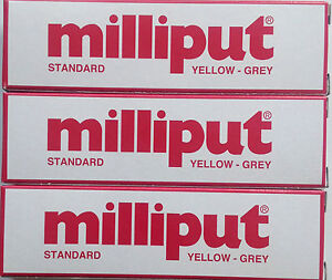 3-x-Milliput-Standard-Yellow-Grey-2-Part-Expoxy-Putty-Filler-Repair-Model-113-4g