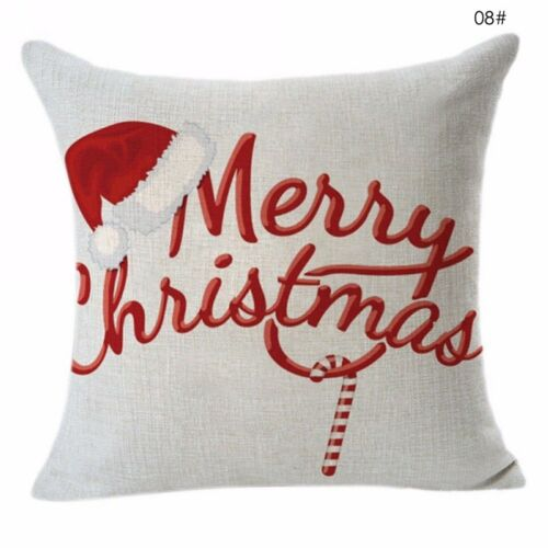 "18/"" Christmas Cotton Linen Throw Pillow Case Sofa Waist Cushion Cover Home Decor"