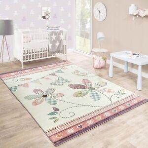 Details About Nursery Rug White Cream Pink Flower S Childrens Floor Carpet Mat