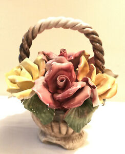 Beautiful-Vintage-Capodimonte-Roses-Flower-Composition-In-Basket-Crown-N-9