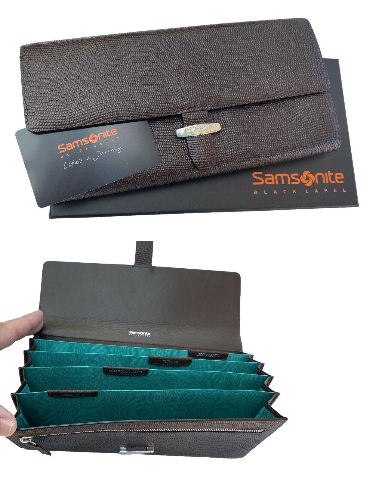New SAMSONITE BLACK LABEL SBL STATIONERY Leather TRAVEL WALLET Organiser Brown