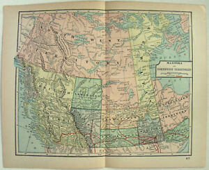 Details About Original 1898 Map Of Western Canada By Dodd Mead Co Bc Manitoba Nwt Antique