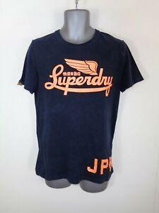 Camisa-para-hombre-Negro-Naranja-spellout-con-el-logotipo-de-Manga-Corta-Cuello-Redondo-camiseta