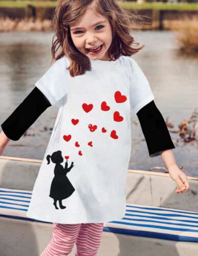 NEW Valentine/'s Day Heart Long Sleeve White Tunic Dress