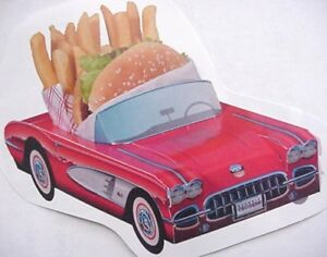 7 Assorted Chevy Cardboard Classic Cars Kids Food Box Trays Party Planner Favor