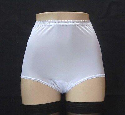 DIXIE BELLE Retro Styling 100/% Nylon Full-Cut Tailored White Brief Size 6//Medium