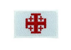 Toppa-Stemma-Ricamata-Zaino-Bandiera-Croce-da-Jerusalem-Templari-Crociata-Bianco