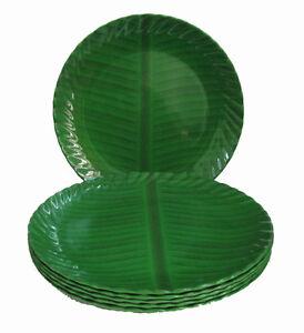 Image is loading Melamine-6-Pcs-Full-Dinner-Plates-Set-Banana-  sc 1 st  eBay & Melamine 6 Pcs Full Dinner Plates Set - Banana Leaf Design - 11 ...