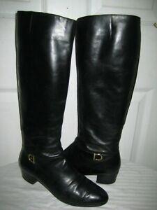 Vintage-Salvatore-Ferragamo-Knee-High-Black-Leather-Boots-Shoes-Women-039-s-Size-6-B