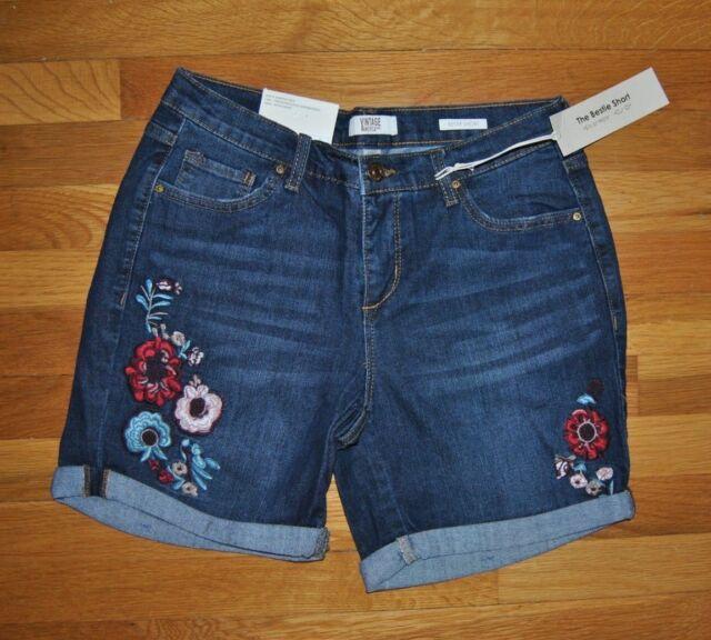 6b21c845821 30NWT Womens VINTAGE AMERICA Blues Floral Embroidery Dark wash Shorts Size 4