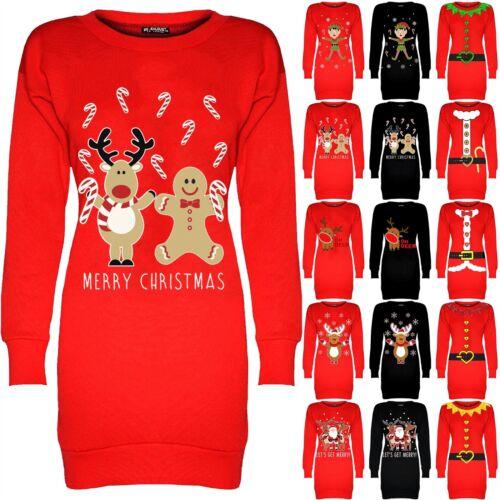Femmes à Manches Longues Noël Noël Imprimé Tunique Longue Sweat-shirt Mini robe