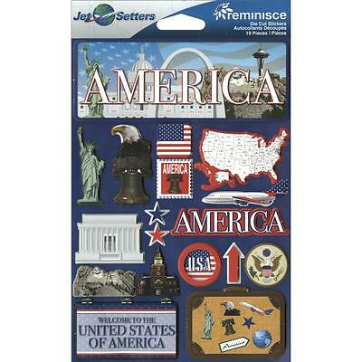 REMINISCE JET SETTERS AMERICA USA TRAVEL VACATION DIMENSIONAL SCRAPBOOK STICKERS