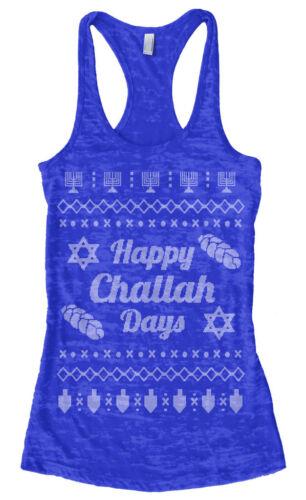 Happy Challah Days Ugly Sweater Women/'s Burnout Racerback Tank Top Hanukkah Gift
