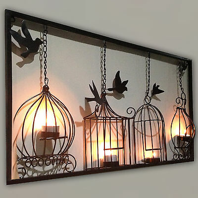 BIRDCAGE TEA LIGHT WALL ART METAL WALL HANGING CANDLE HOLDER BLACK 3D BIRD CAGE