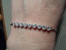QVC Diamonique cz Sterling Silver/Platinum clad  Heart Line Friendship Bracelet