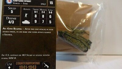 Axis /& Allies Counter Offensive Lend-Lease Stuart with card 1//50