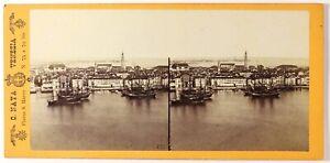 Carlo Naya , Italia, Venezia Panorama Foto Stereo Vintage Albumina c1860