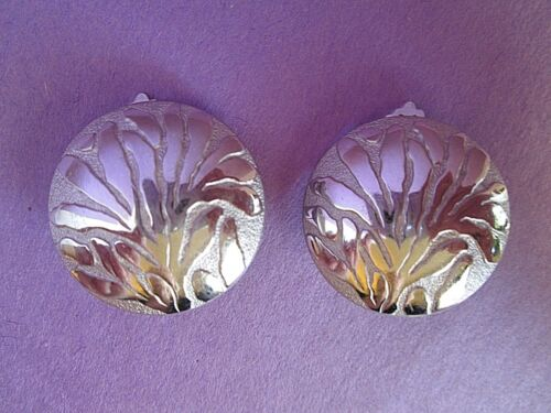 Lanvin Silver Tone Clip Earrings Germany Signed V… - image 1