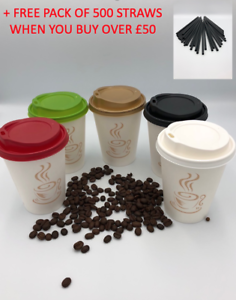 Insulated Disposable to go Coffee Cups, 12 oz cup, with Lids, Pack of 60