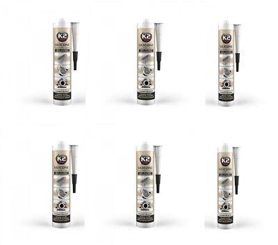 6x K2 Silikon Silikon Hochtemperatur Dichtmasse Auto & Motorrad: Teile 350° Schwarz 300g Schnelle Farbe