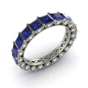 3.75 Ct Princess Diamond Wedding Blue Sapphire 925 Sterling Silver Eternity Band
