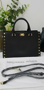 Image Is Loading 100 Authentic Michael Kors Large Sylvia Studded Leather
