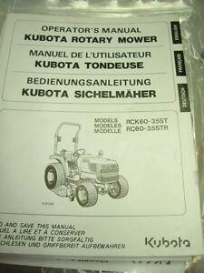 kubota rck60 35st rck60 35str operators manual ebay rh ebay co uk Kubota RCK60 Mulch New Idea Rotary Mower