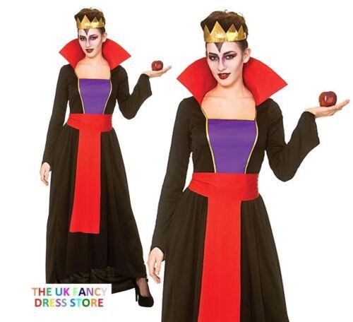 Adulte deluxe wicked queen halloween conte de fées costume robe fantaisie femme uk 6-24