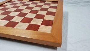 Handmade-Chess-Board-2-1-4-inch-Padouk-amp-Curly-Maple-with-Mahogany-border