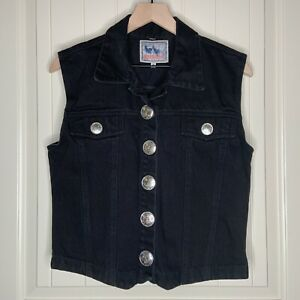 Vintage-M-Womens-Black-Denim-Jean-Vest-Southwest-Silver-Buttons-Boho-Cowgirl