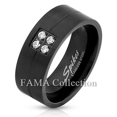 Stylish FAMA 8mm Tribal Pattern Black IP Stainless Steel Ring Band Size 9-13
