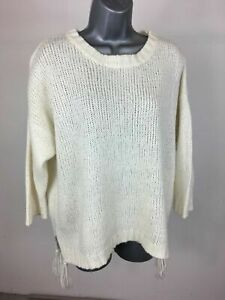 1862c4da2f1 Details about Women's Zara Knit Cream Knitted Jumper Sweater With Tassels  To Side Size Medium