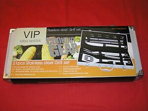 92fa1fb1964 BBQ VIP GRILL MASTER COOKOUT GEAR 21 PCS STAINLESS STEEL UTENSIL SET ...