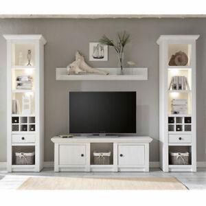 Details zu TV-Mediawand Wohnzimmer Möbel in Pinie weiß Landhaus Vitrinen  Lowboard Wandboard