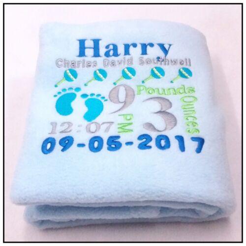 Personalised Baby  Blanket Full Details Baby Boy//Girl Fleece New Born Gift