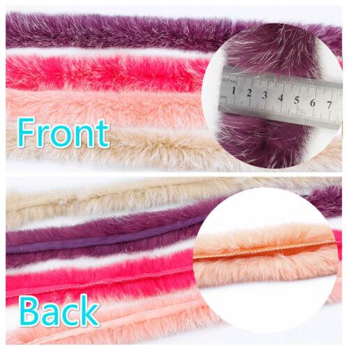 1M Faux Fur Strap Trim Fluffy Furry White Tip Sewing DIY for Shoe Coat Long Soft