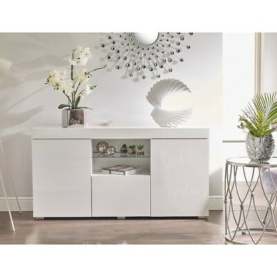WHITE HIGH GLOSS Top Doors Sideboard Display Cabinet Cupboard Buffet LED Light