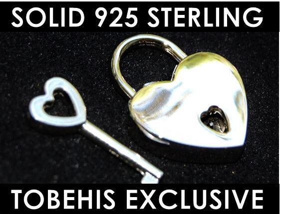 PERMANENT 925 Sterling Silver Working Heart Padlock Lock BDSM Bondage Collar