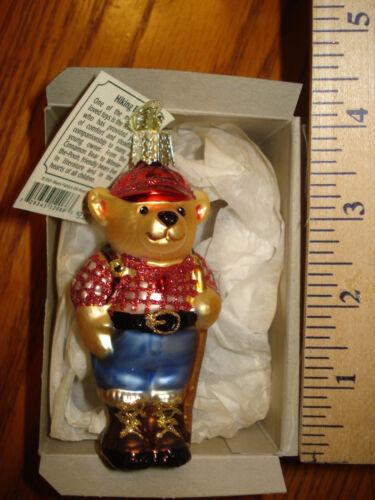 Bear Ornament Glass Teddy Bear Hiking Old World Christmas 12066 7