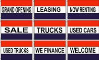 3ft X 5ft Polyester Flags Grand Opening, Sale, Truck, Used Car, Welcome, Finance