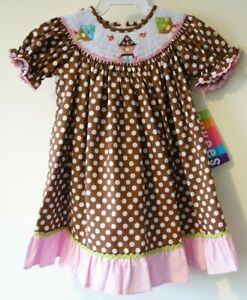 edf6bbf77a4 Image is loading NWT-Cukees-Smocked-Bird-Houses-Bishop-Dress-Girl-