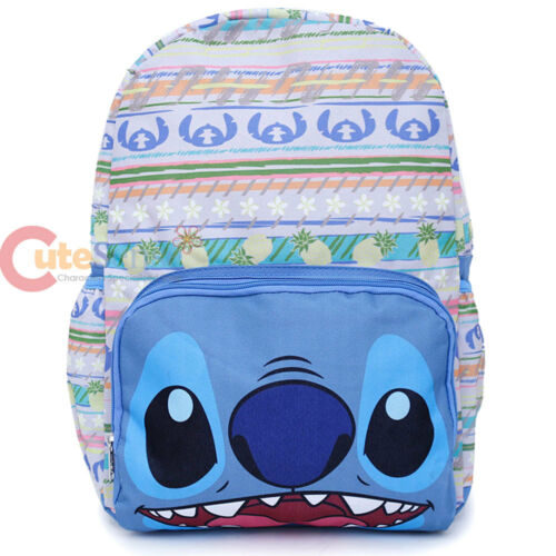 Lilo and Stitch Large Backpack White Aloha Hawaiian Blue Stitch  Face Bag